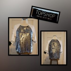 Topshop Sequened Baseball Style  Blouse